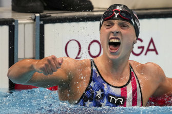 Katie Ledecky reacts after winning the inaugural women's 1500m freestyle.