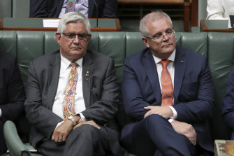 Indigenous Australians Minister Ken Wyatt with Prime Minister Scott Morrison during the Closing the Gap addresses to Parliament.