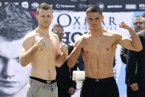 Jeff Horn and Tim Tszyu pose at Tuesday's weigh-in ahead of the fight at Townsville's Queensland Country Bank Stadium.