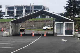 A new COVID-19 testing station on Portland foreshore awaits a drop in gale-force winds before it can be used.