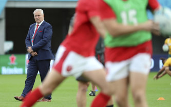 Wales coach Warren Gatland watches his players before the Pool D game against Australia on September 29.