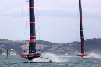 Luna Rossa leads Team New Zealand during race two in Auckland on Wednesday.