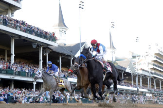 Medina Spirit crosses the line to give trainer Bob Baffert his seventh Kentucky Derby winner.  The victory is now under threat following a positive drug test.