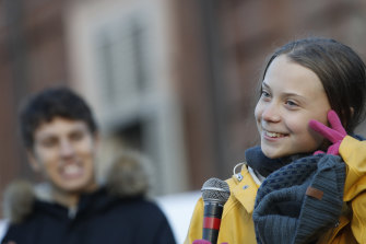 Swedish climate change activist Greta Thunberg at a climate march in December.