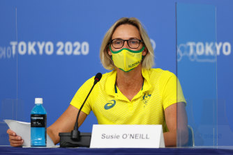 Susie O'Neill, deputy chef de mission of Australian Olympic Committee, at a press conference in Tokyo on Monday.