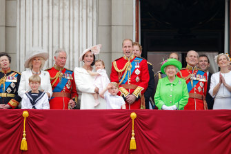 Senior royals appear on the balcony of Buckingham Palace during Trooping the Colour in London, 2016.
