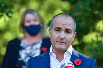 Minister for Education James Merlino and Minister for Early Childhood Ingrid Stitt announcing free kinder for 2021.