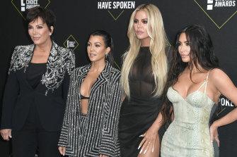 (L-R) Kris Jenner with daughters Kourtney Kardashian, Khloe Kardashian and Kim Kardashian West.