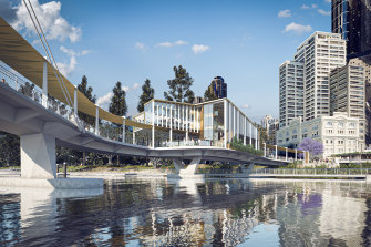 A concept image of the now-updated Kangaroo Point green bridge design.