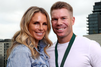 Candice and David Warner.