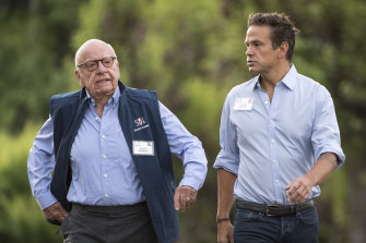Rupert Murdoch, left, with son Lachlan in 2018.