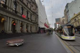Melbourne's usually bustling Bourke Street Mall at a standstill.