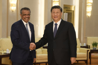 Tedros Adhanom Ghebreyesus, director-general of the World Health Organisation, with Chinese President Xi Jinping in Beijing on January 28.