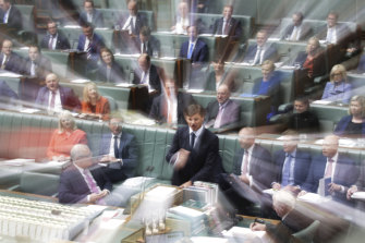 """Angus Taylor during question time said the government has an """"open mind"""" on nuclear power but does not intend to overturn an existing ban."""