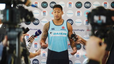 Back: Israel Folau faces the media for the first time since his controversial anti-gay comment.