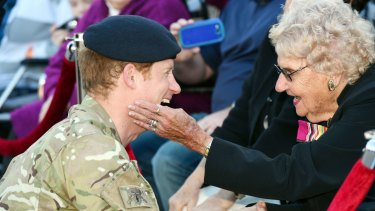 Prince Harry met Daphne Dunne for the first time in 2015.
