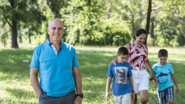Adrian Piccoli with his wife Sonia Piccoli, and sons Jasper, 8, and Finn, 10.