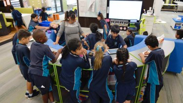 Inside a learning hub classroom at St Luke's in Marsden Park.