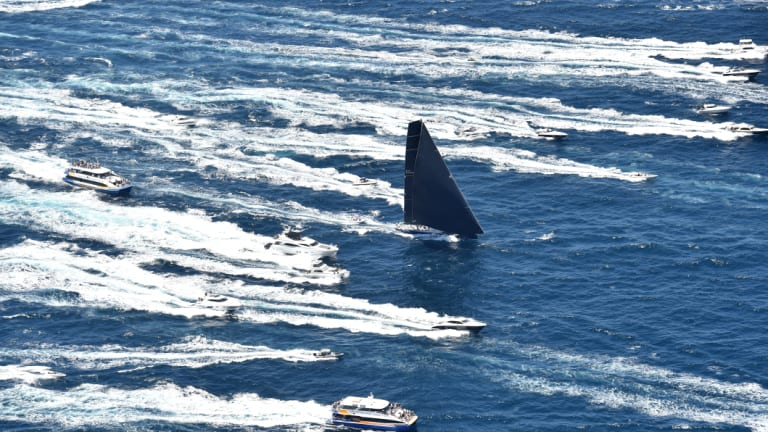 Out of the blocks: Black Jack leads the fleet through Sydney Heads.