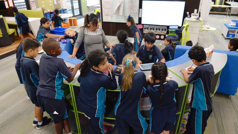 Inside a learning hub classroom at St Luke's in Marsden Park.