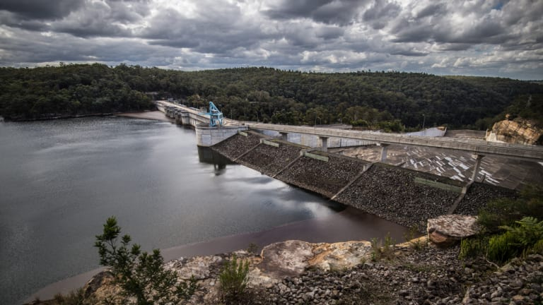 Warragamba Dam, which supplies about 80% of Sydney's water, when it was near full in late 2016.