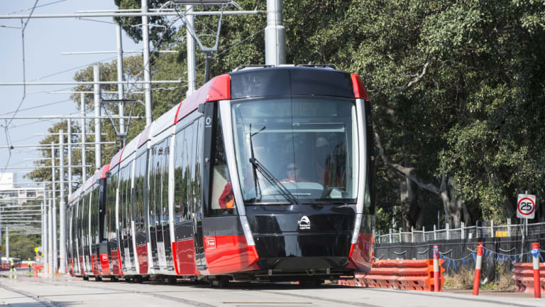 A 67-metre tram undergoes testing at Moore Park in Sydney's east on Tuesday.