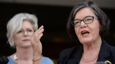 Outgoing Indi independent Cathy McGowan with independent candidate Helen Haines on Monday.