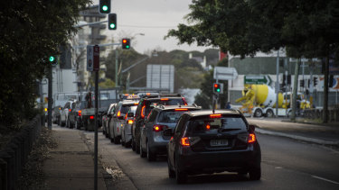 Traffic along Dacey Avenue in Alexandria, Sydney.