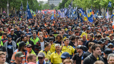 Thousands of union protesters gathered in Melbourne's CBD for the ACTU's 'change the rules' rally in October.