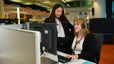 Medibank nurse Jonna Marisse Nayan (left) and consultant Janine Dunn at a Medibank customer support centre.