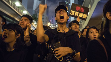 Protesters on the streets of Hong Kong on Sunday night.