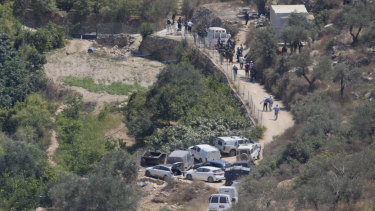 The sight of an explosion near the Israeli settlement of Dolev, west of the West Bank city of Ramallah, in August.