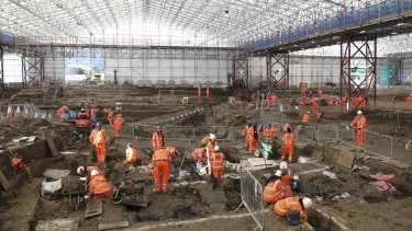 The archaeological excavation and research works at St James's Gardens, Euston, London.