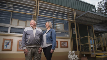 Trevor Henry, 71, with his daughter Annette. They both attended Trunkey Public School where a demountable has been in use since 1976.