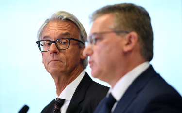 Sticking to their guns: FFA chief executive David Gallop and chairman Chris Nikou.