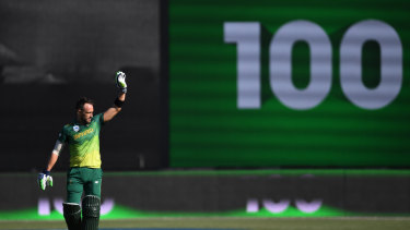 Ton up: South Africa's Faf du Plessis celebrates his century.