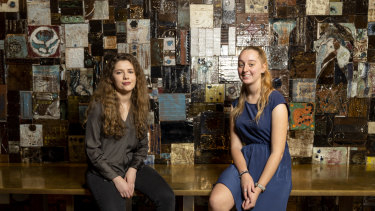 Interior design students Jillian Storrs (left) and Olivia Schmidt in one of their favourite sections of Monster.