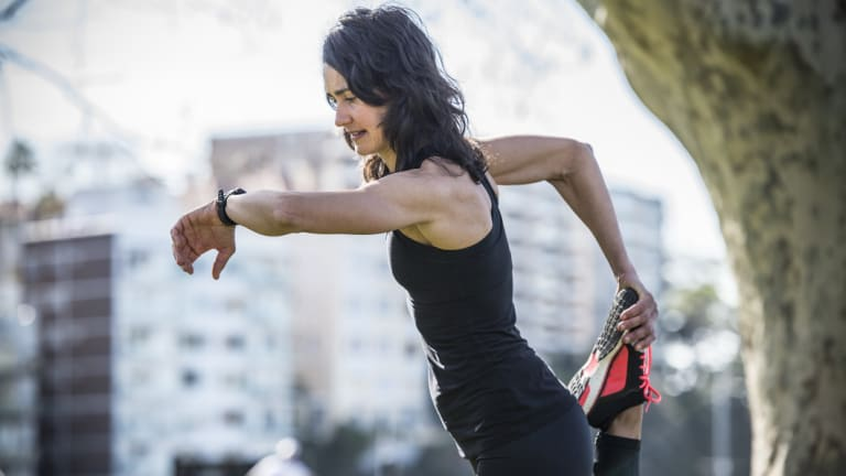 Personal trainer Raquel Holgado uses a GPS watch as part of her training for The Sun-Herald City2Surf.
