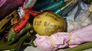 Tributes for Danny 'Spud' Frawley, including  a potato, at RSEA Park on Wednesday afternoon.