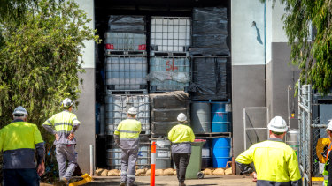 Authorities were faced with a wall of containers filled with toxic waste when they discovered the Epping and Campbellfield warehouses in late December.