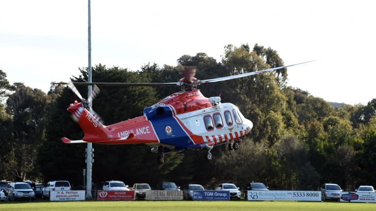 An air ambulance attended the scene when a Dunnstown footballer, in his 20s, collapsed and died on field at Learmonth.