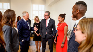 Tony Blair, centre left, was the guest of honour at the opening of the King's College International School of Government chaired by Alexander Downer, centre right.
