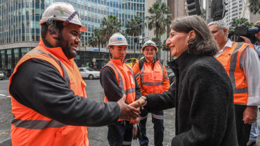 Premier Gladys Berejiklian meets with electrical trade apprentices in the city on Thursday.