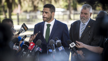 Mea culpa: Greg Inglis faces the press after being charged with drink driving and speeding.