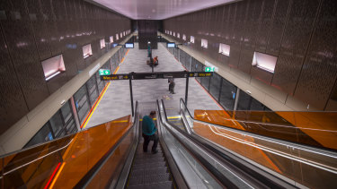 Norwest Station on the 36-kilometre metro line is ready to open to passengers.