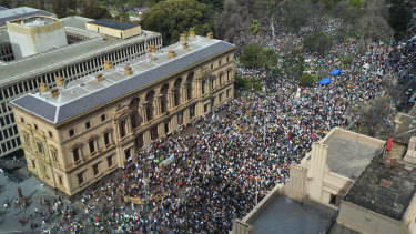 Protesters start gathering outside the Old Treasury Building.