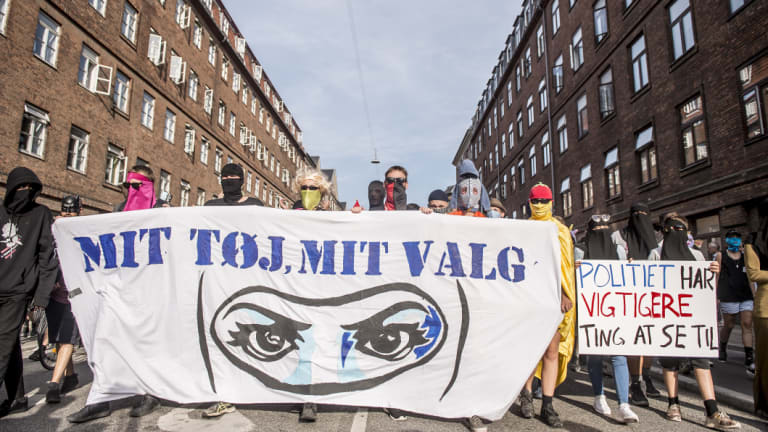 Demonstration on the first day of the implementation of the Danish face veil ban in Copenhagen, Denmark.