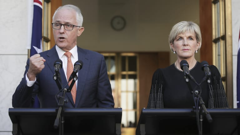 Malcolm Turnbull and Julie Bishop at Parliament House on Tuesday.