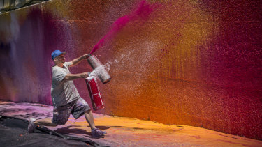 Ash Keating and his wall of colour.