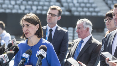 Premier Gladys Berejiklian announcing a $50 million upgrade to Sydney Olympic Park tennis centre.